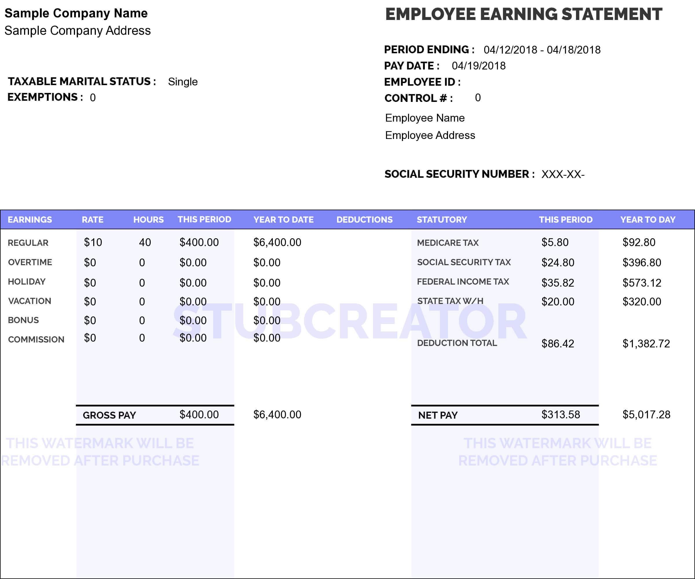 008 Rare Payroll Check Stub Template Idea  Employee Pay Free ExcelFull