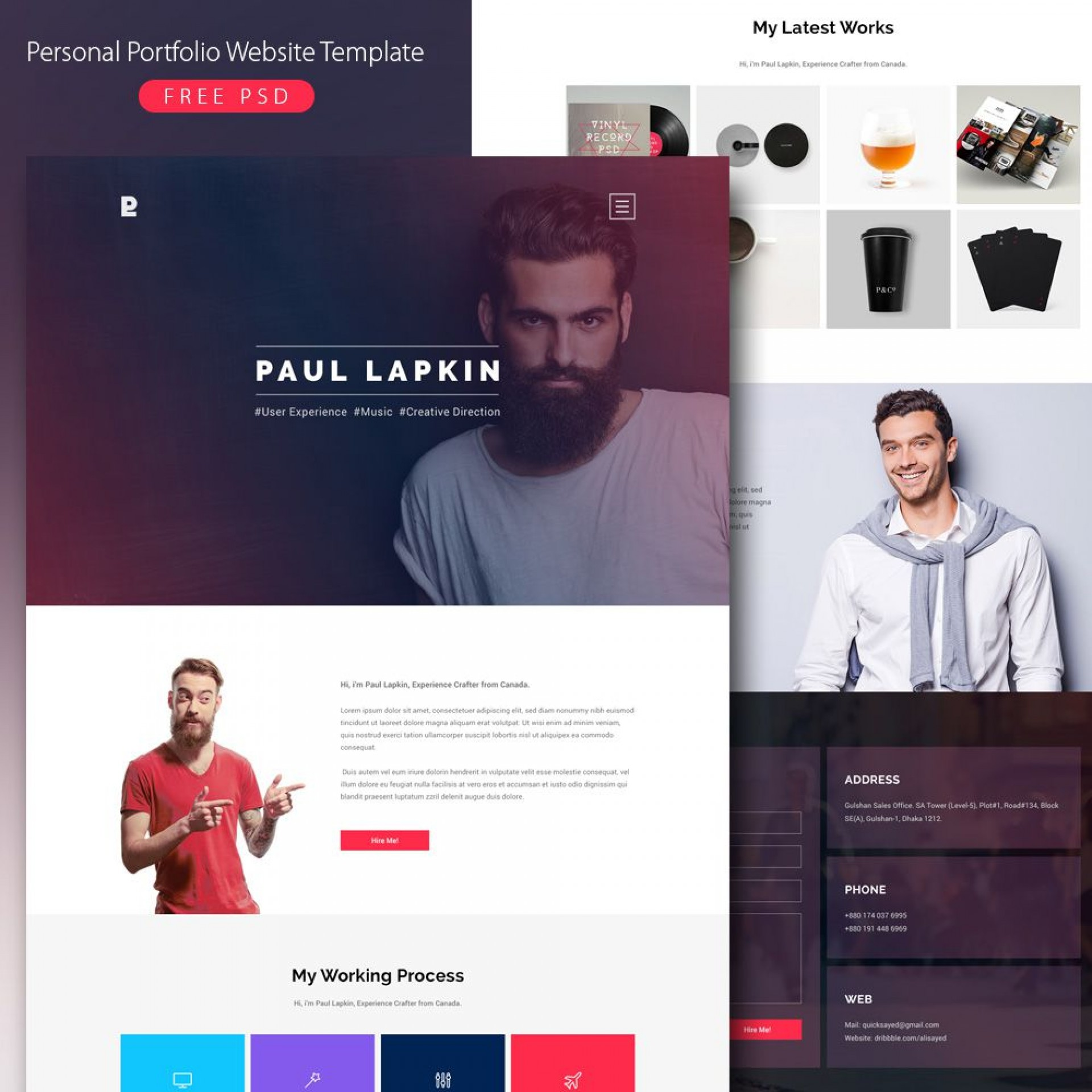 008 Rare Personal Portfolio Template Free Download Inspiration  Psd Powerpoint1920