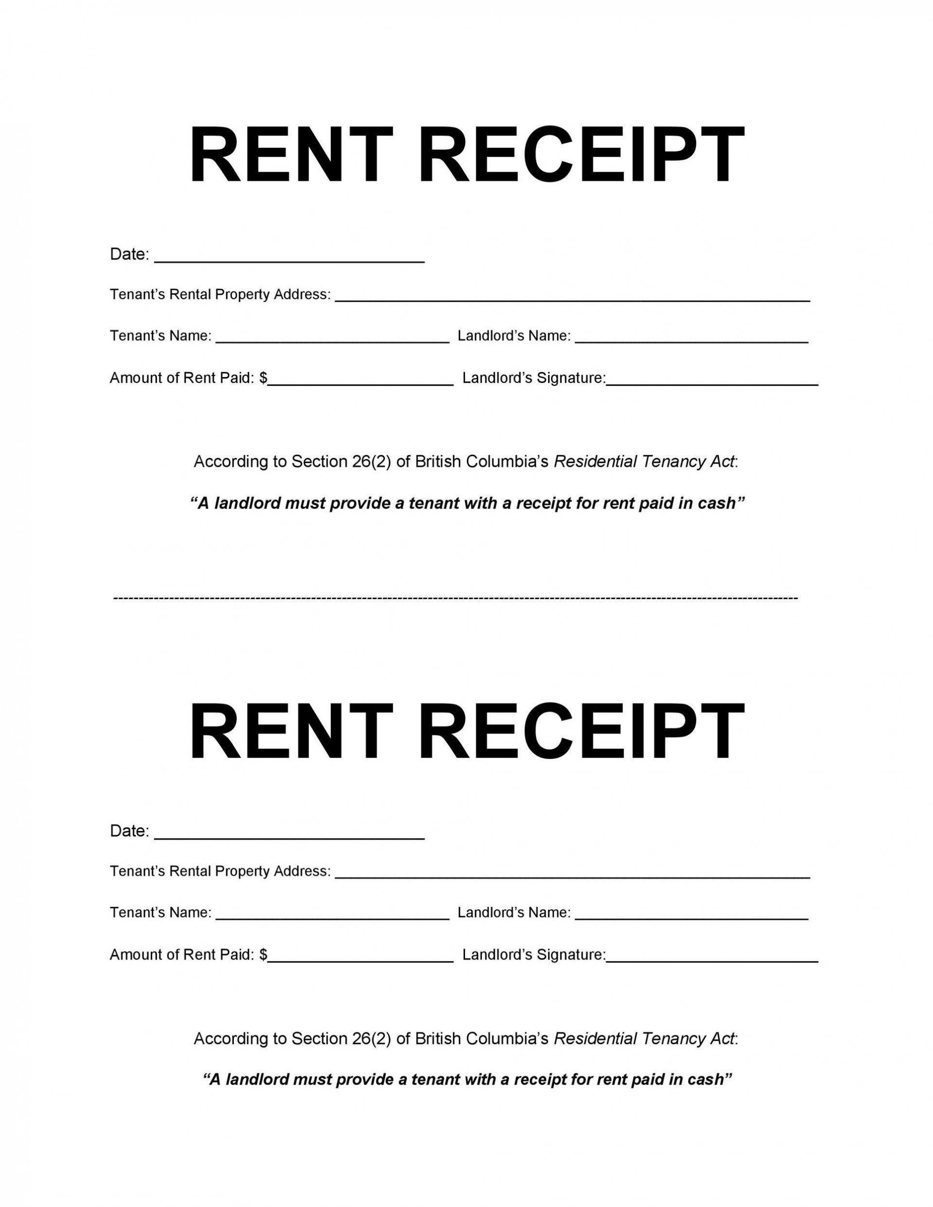 008 Rare Rent Payment Receipt Template Image  Excel Free1920