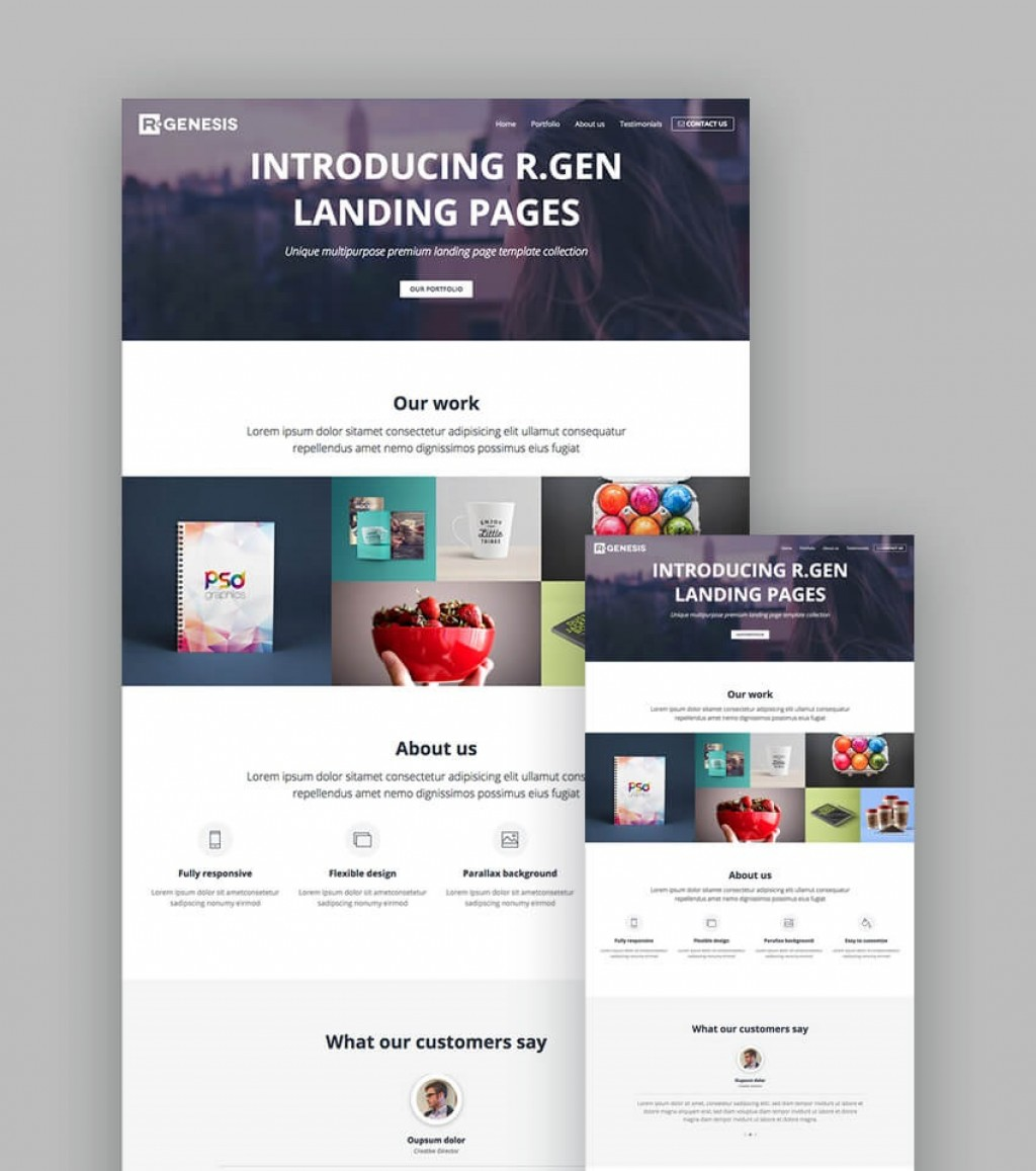 008 Rare Responsive Landing Page Template Idea  Free Html With Flexbox Html5Large