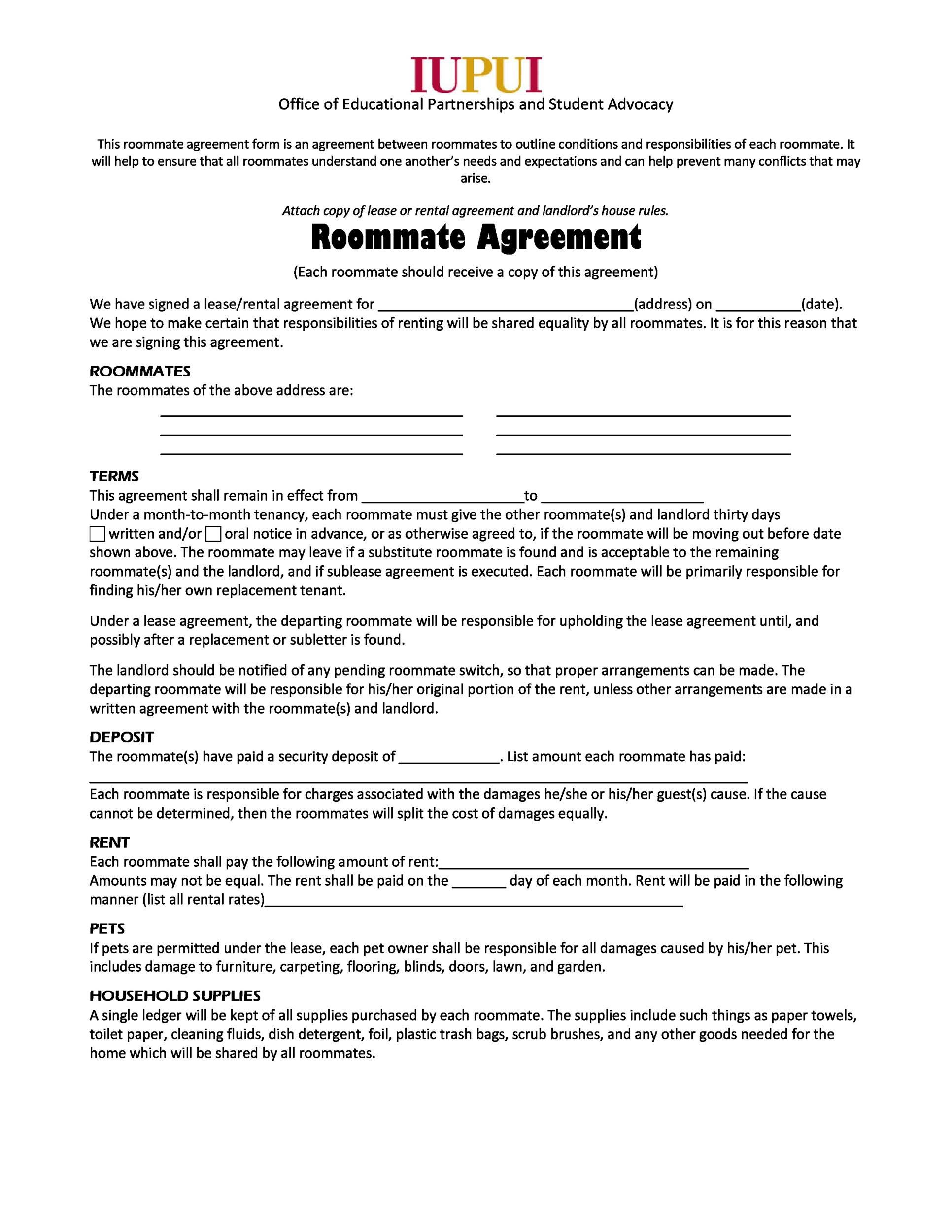 008 Rare Roommate Rental Agreement Template Inspiration  Form Free ContractFull