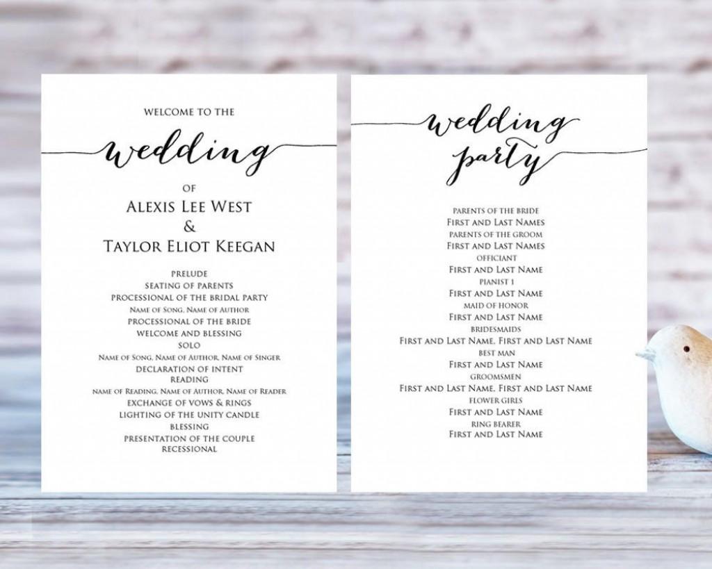 008 Rare Template For Wedding Program Highest Quality  Word Free CatholicLarge
