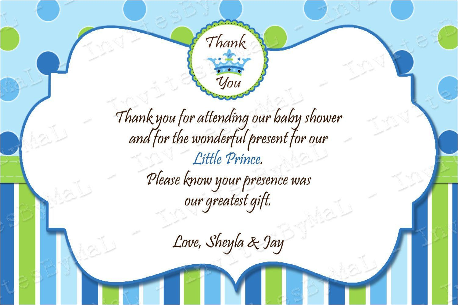 008 Rare Thank You Note Wording Baby Shower Photo  For Hosting CardFull