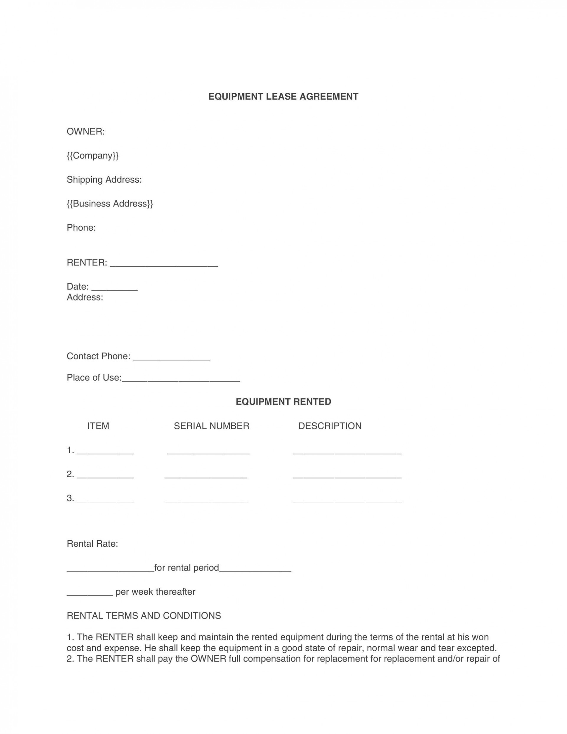 008 Remarkable Equipment Lease Contract Template Free Example  Agreement Word1920