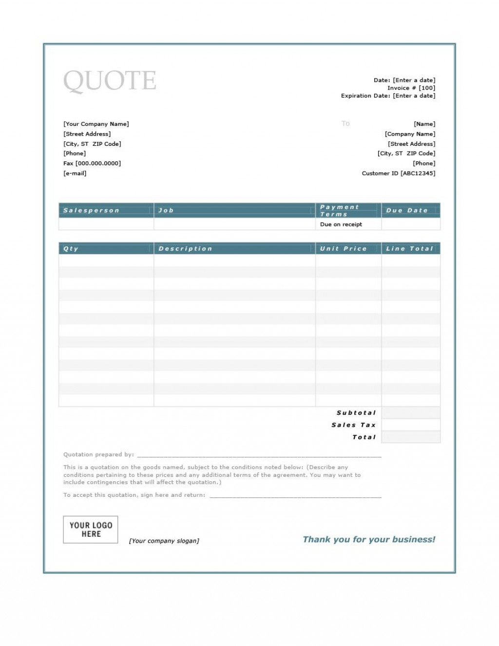 008 Remarkable Free Estimate Template Word Highest Clarity  Microsoft ContractorLarge