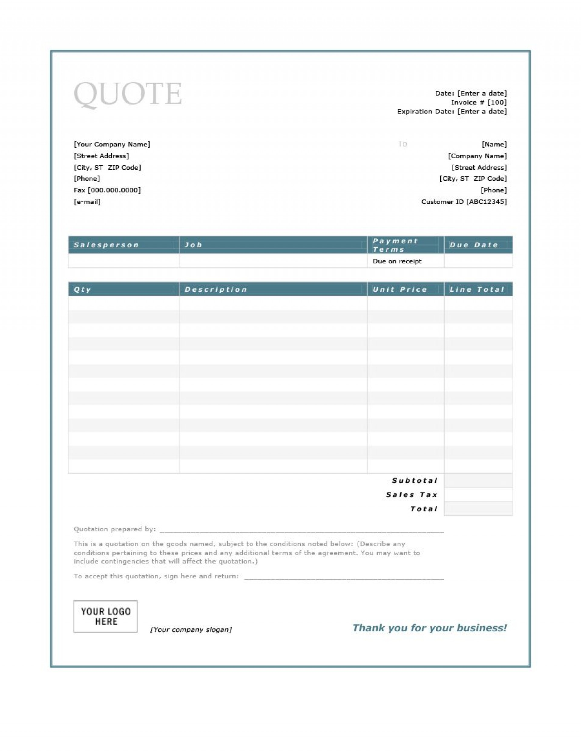 008 Remarkable Free Estimate Template Word Highest Clarity  Microsoft Contractor1920