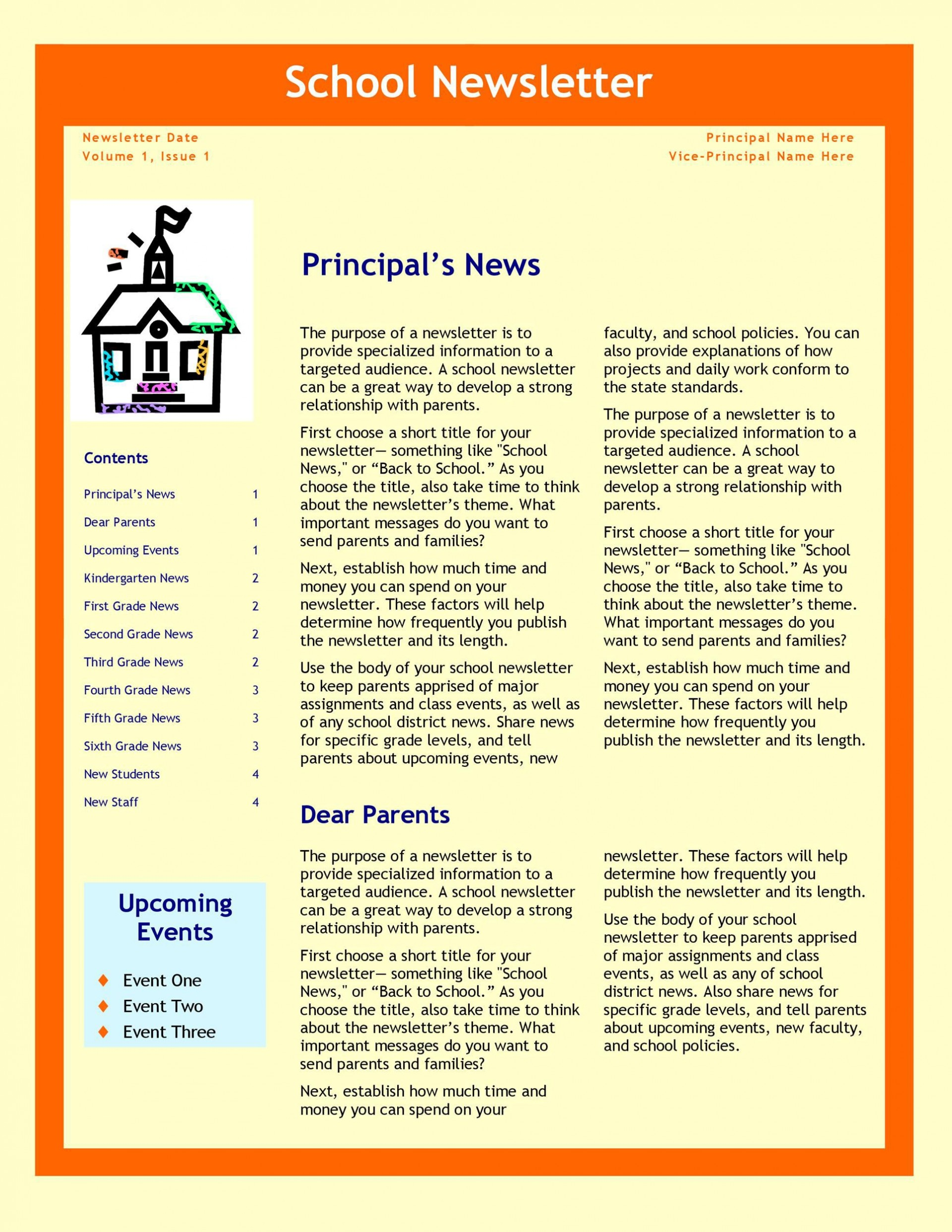 008 Remarkable High School Newsletter Template Free Download Picture 1920
