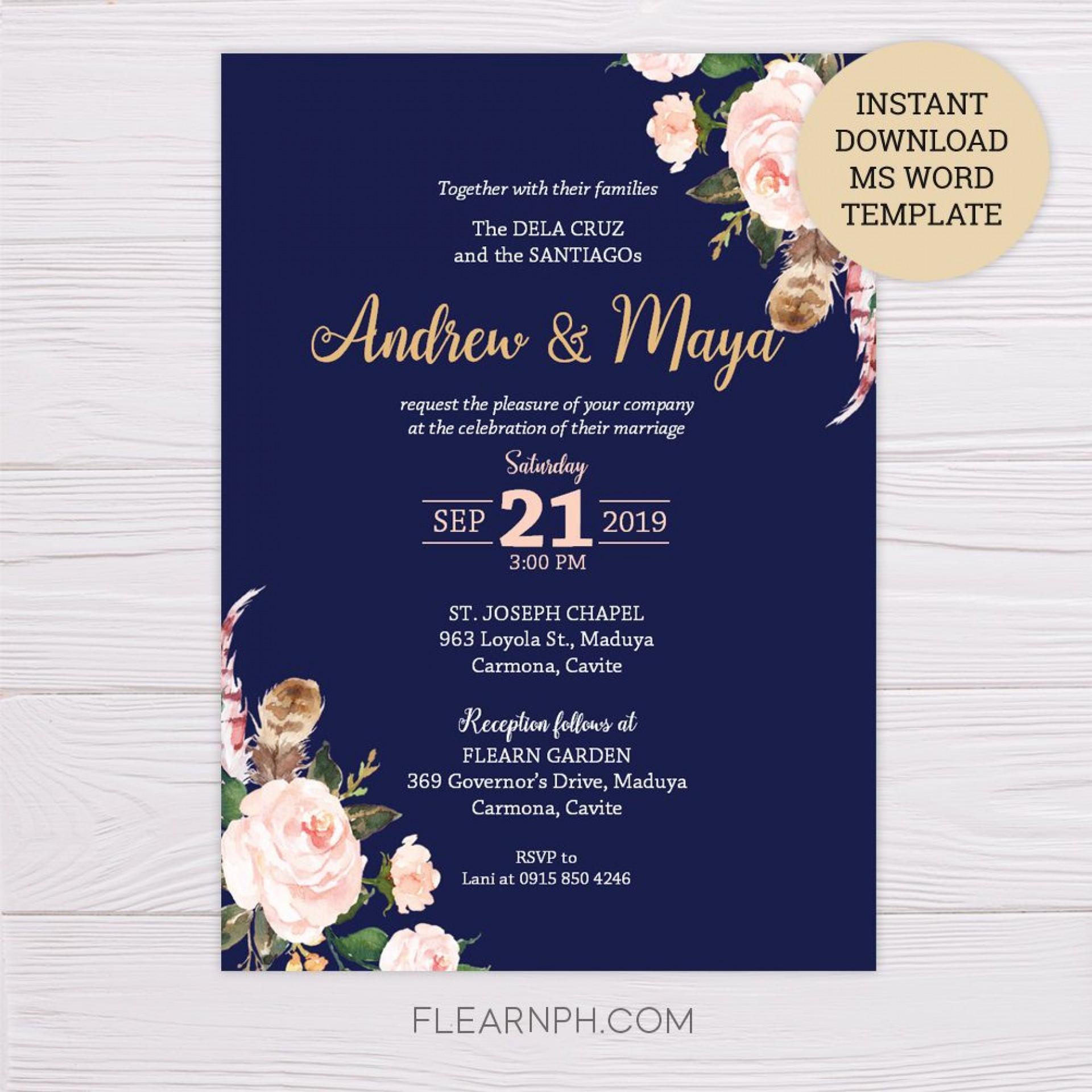 008 Remarkable Microsoft Word Wedding Invitation Template Free Download Idea  M Editable1920