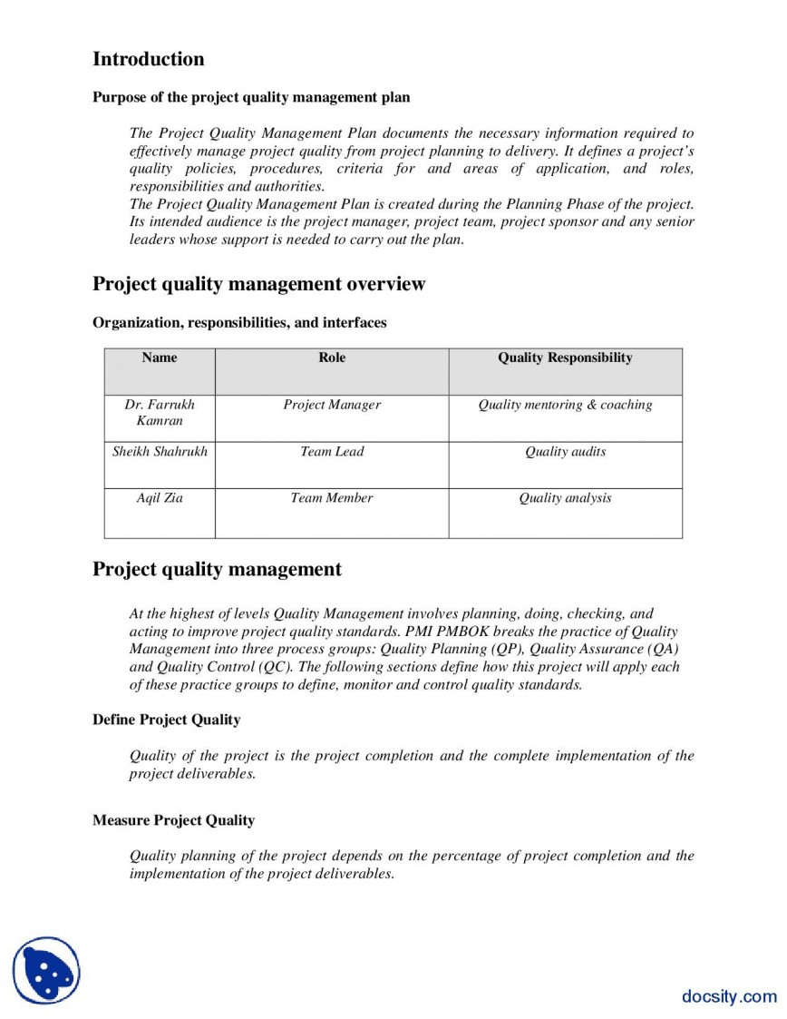 Quality Management Plan Template from www.addictionary.org