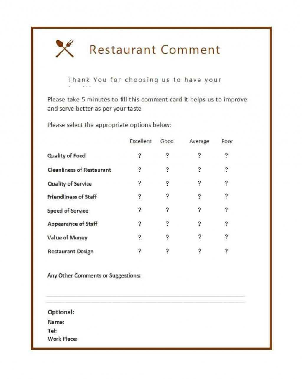 008 Remarkable Restaurant Customer Comment Card Template Inspiration  For Word FreeLarge