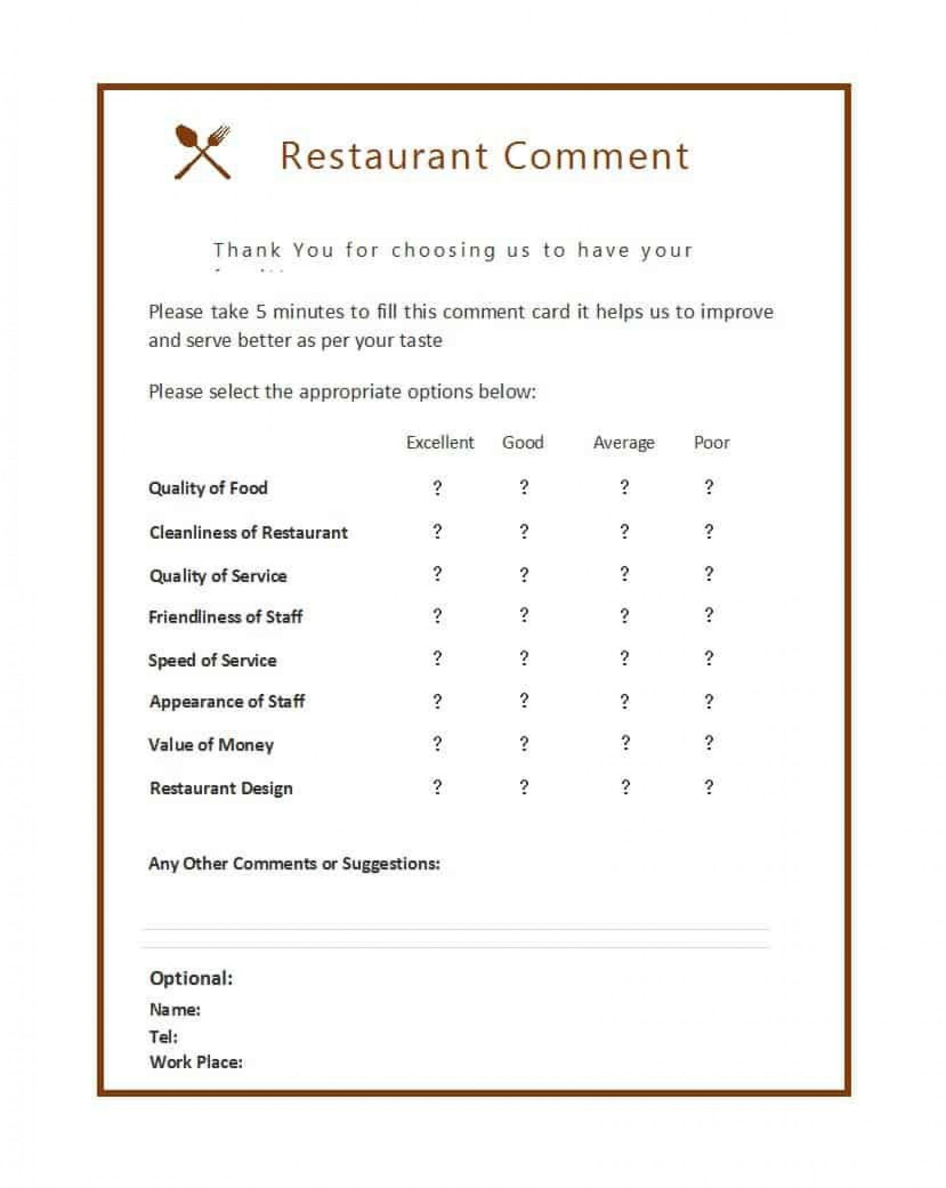 008 Remarkable Restaurant Customer Comment Card Template Inspiration  For Word Free1920