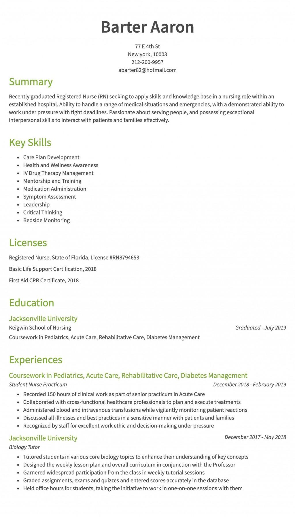 008 Remarkable Rn Graduate Resume Template High Resolution  New Nurse PractitionerLarge