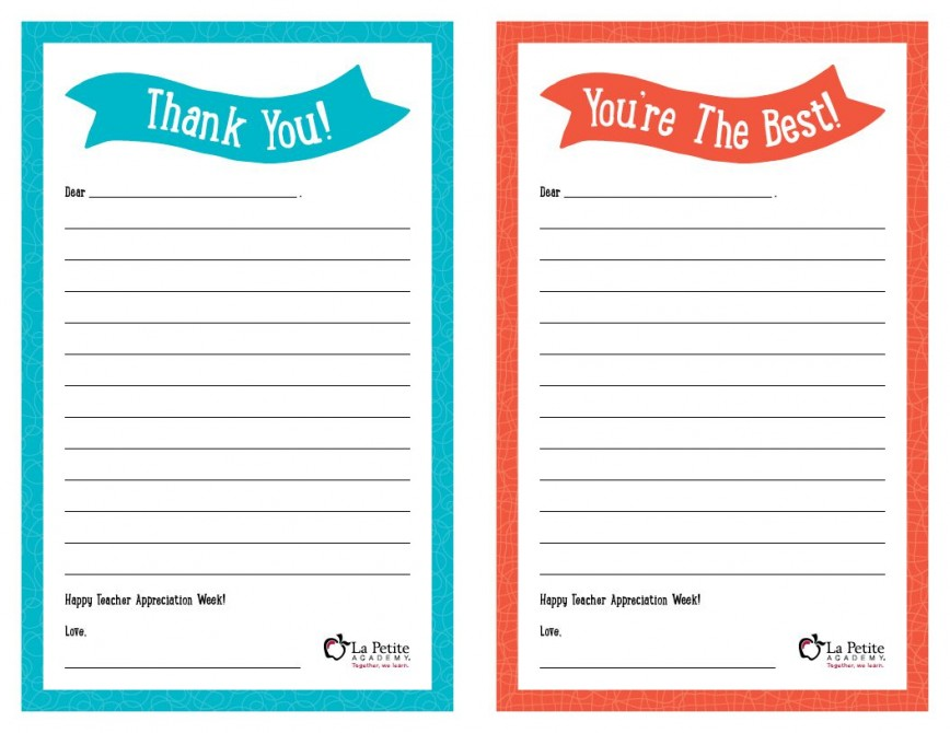 008 Remarkable Thank You Note Template Free Printable Idea 868