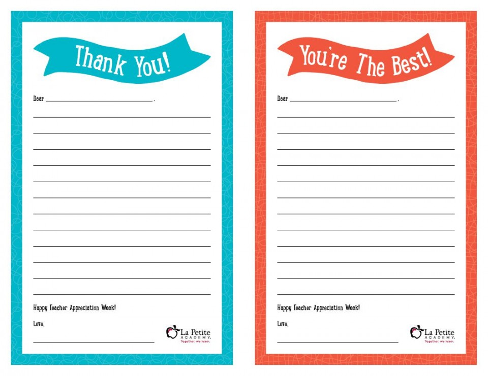 008 Remarkable Thank You Note Template Free Printable Idea 960