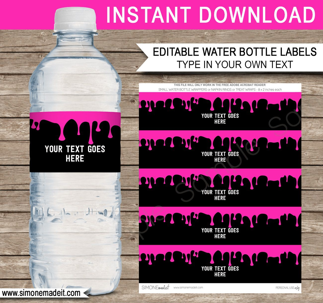 008 Remarkable Water Bottle Label Template Image  Free Photoshop Baby Shower PsdFull