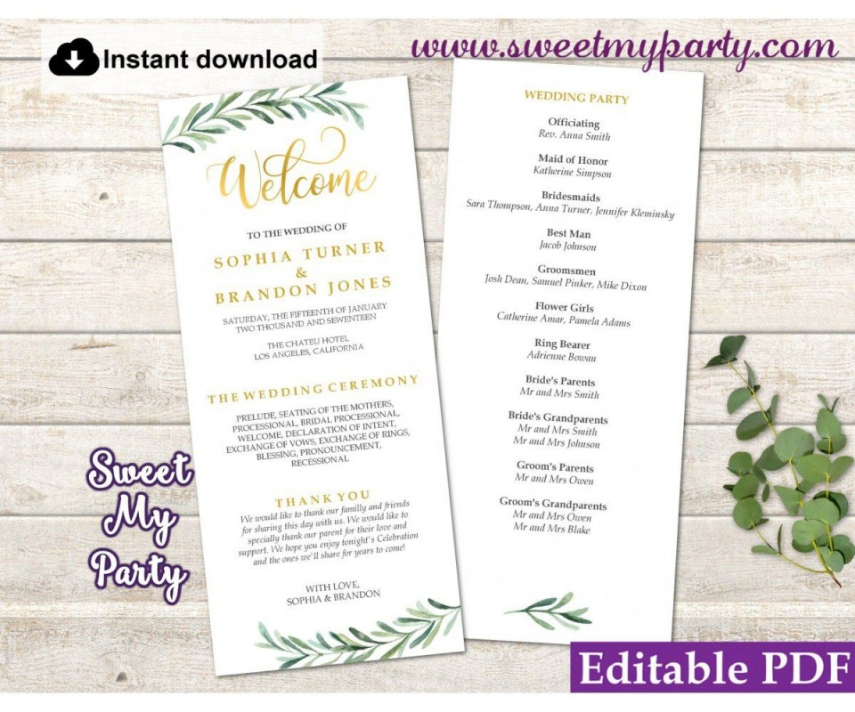 008 Sensational Free Wedding Order Of Service Template Word Design  Microsoft960
