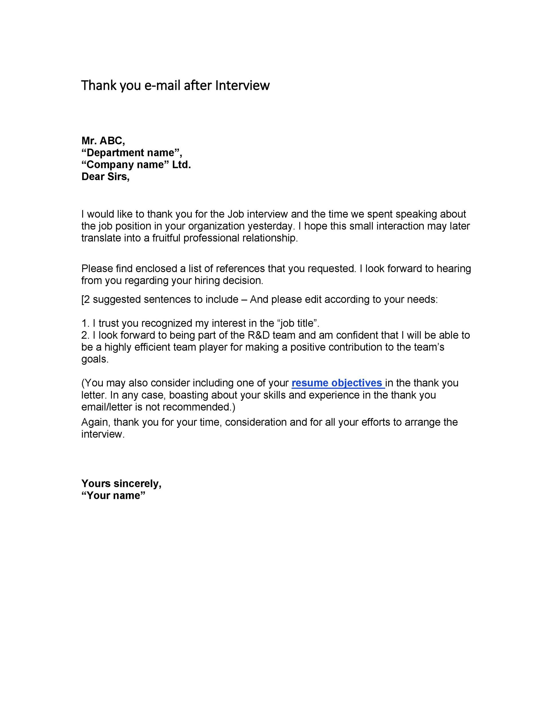sample thank you letter after job interview  interview