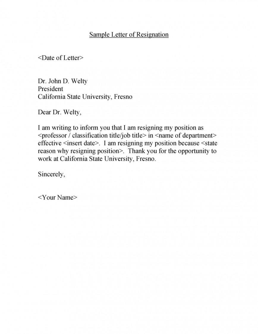 008 Sensational Letter Of Resignation Template Free Sample  Uk Printable