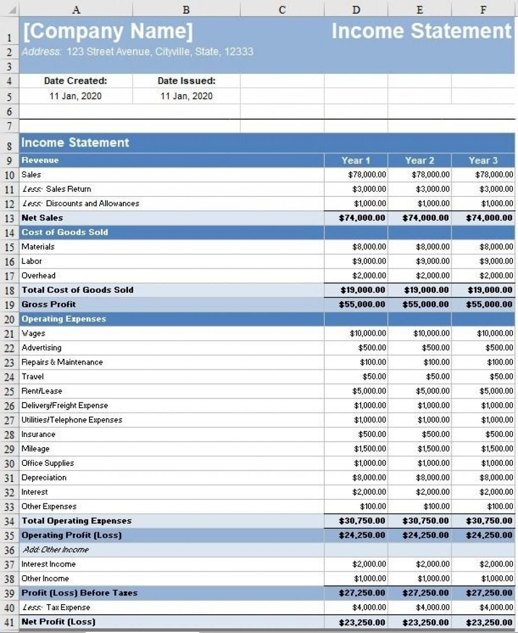 008 Sensational Monthly Income Statement Format Excel Free Download Design Large