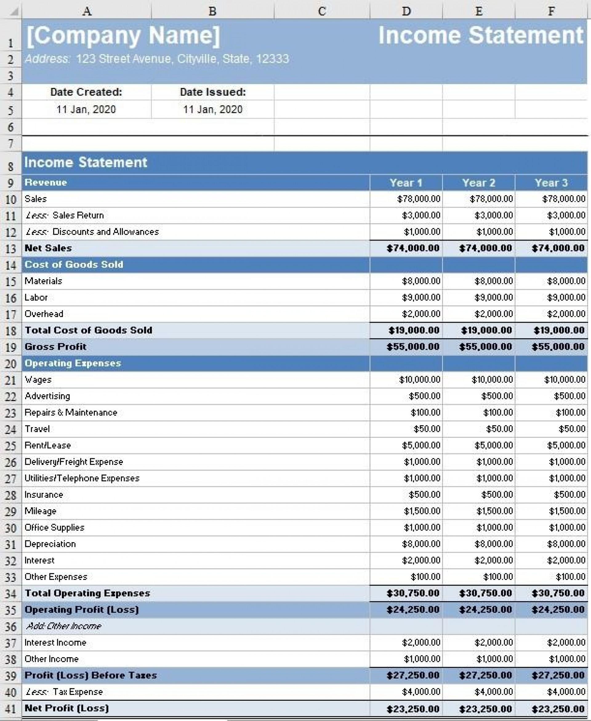 008 Sensational Monthly Income Statement Format Excel Free Download Design 1920