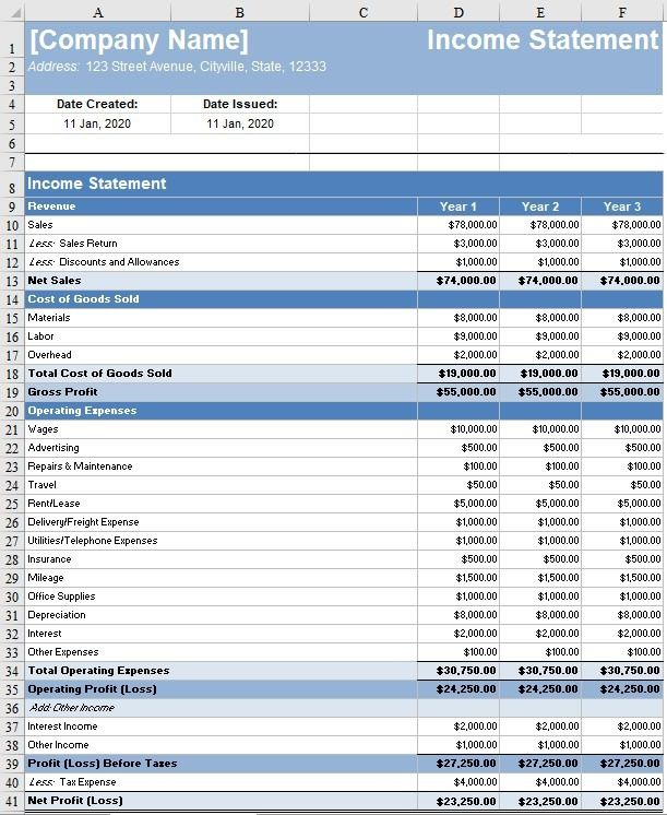 008 Sensational Monthly Income Statement Format Excel Free Download Design Full