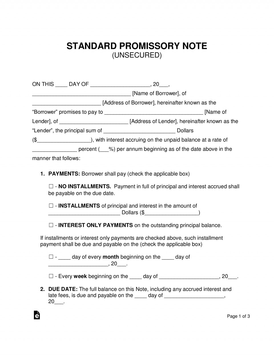008 Sensational Promissory Note Template Word Image  Form Document Free Sample960