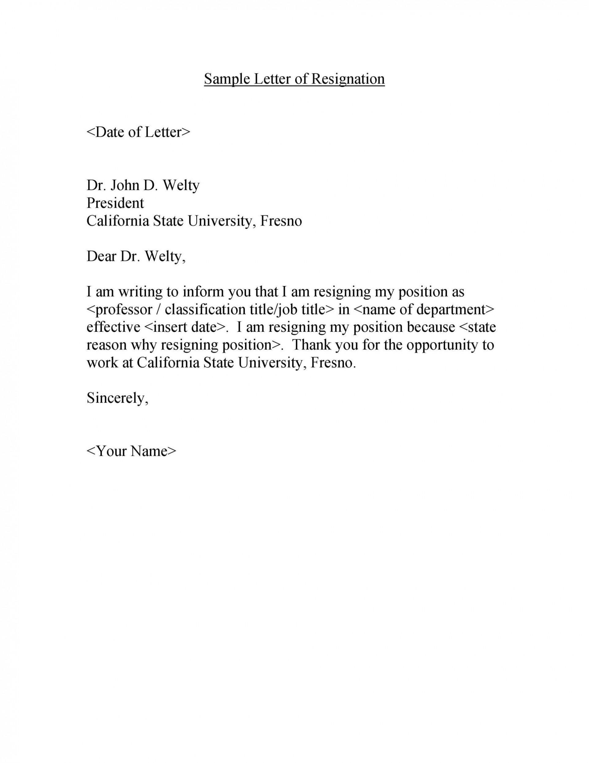 008 Sensational Sample Resignation Letter Template Inspiration  For Teacher Word - Free Downloadable1920