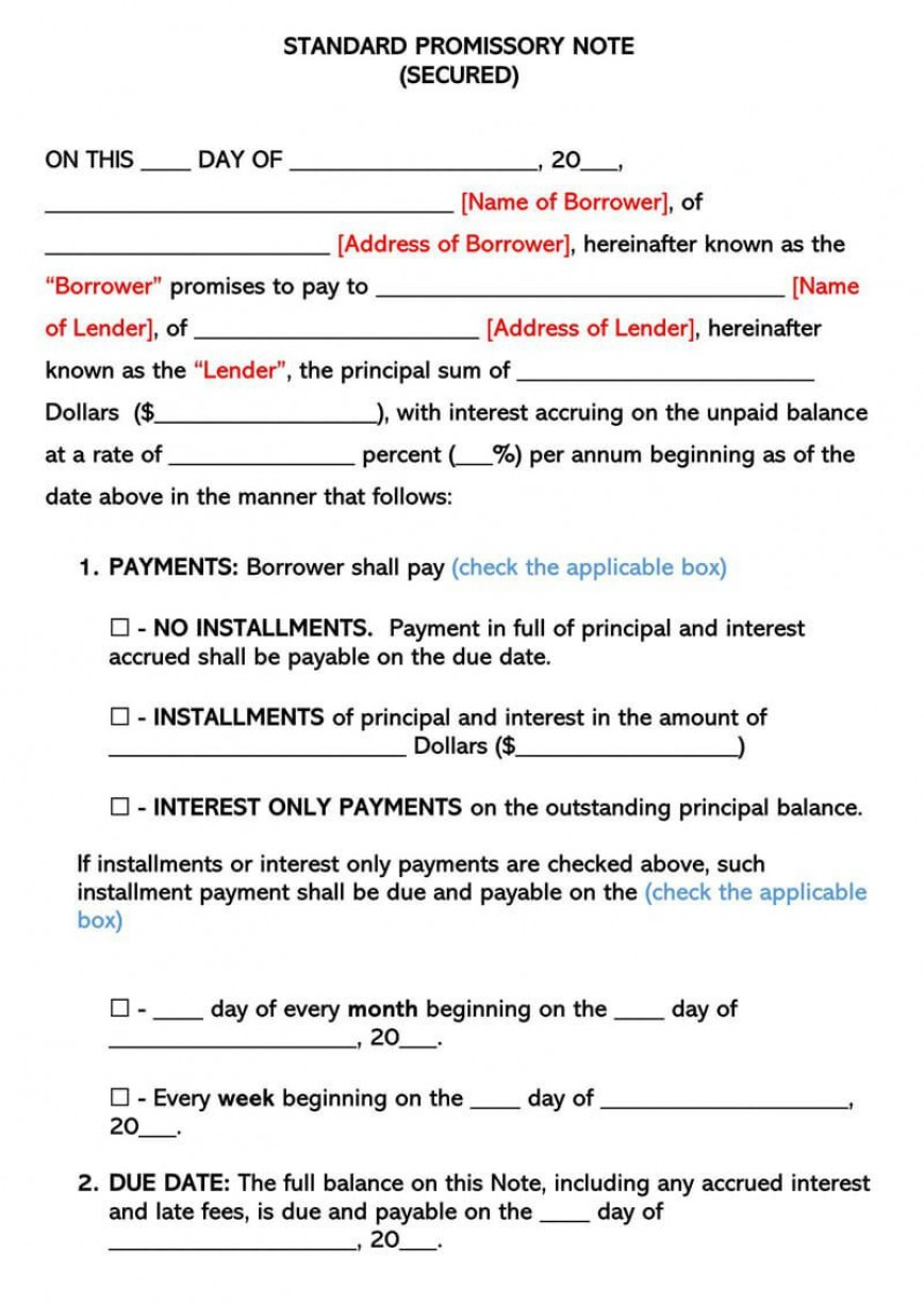 008 Sensational Secured Promissory Note Template Photo  Free Word Georgia California868