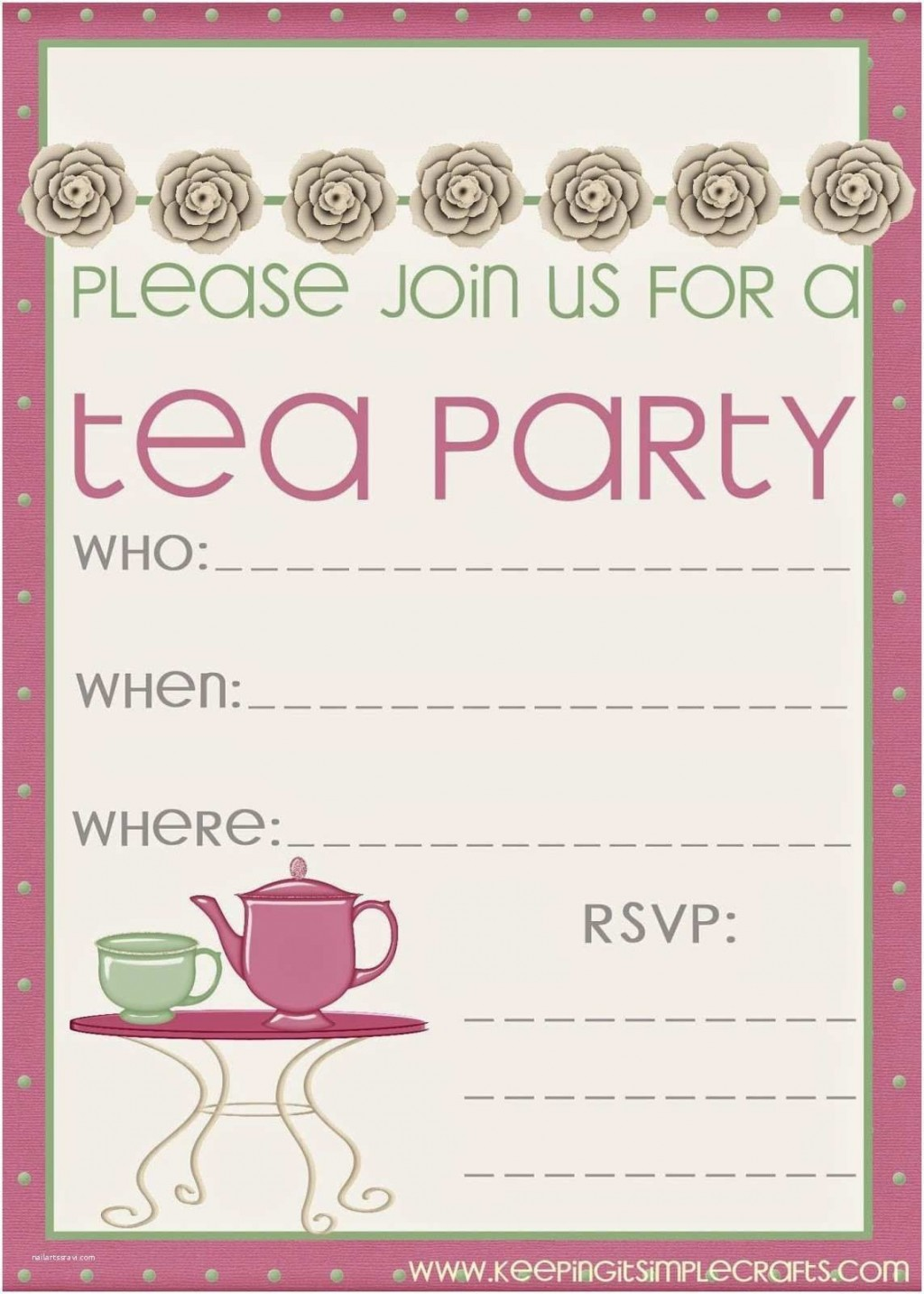 008 Sensational Tea Party Invitation Template Free Sample  Vintage Princes PrintableLarge