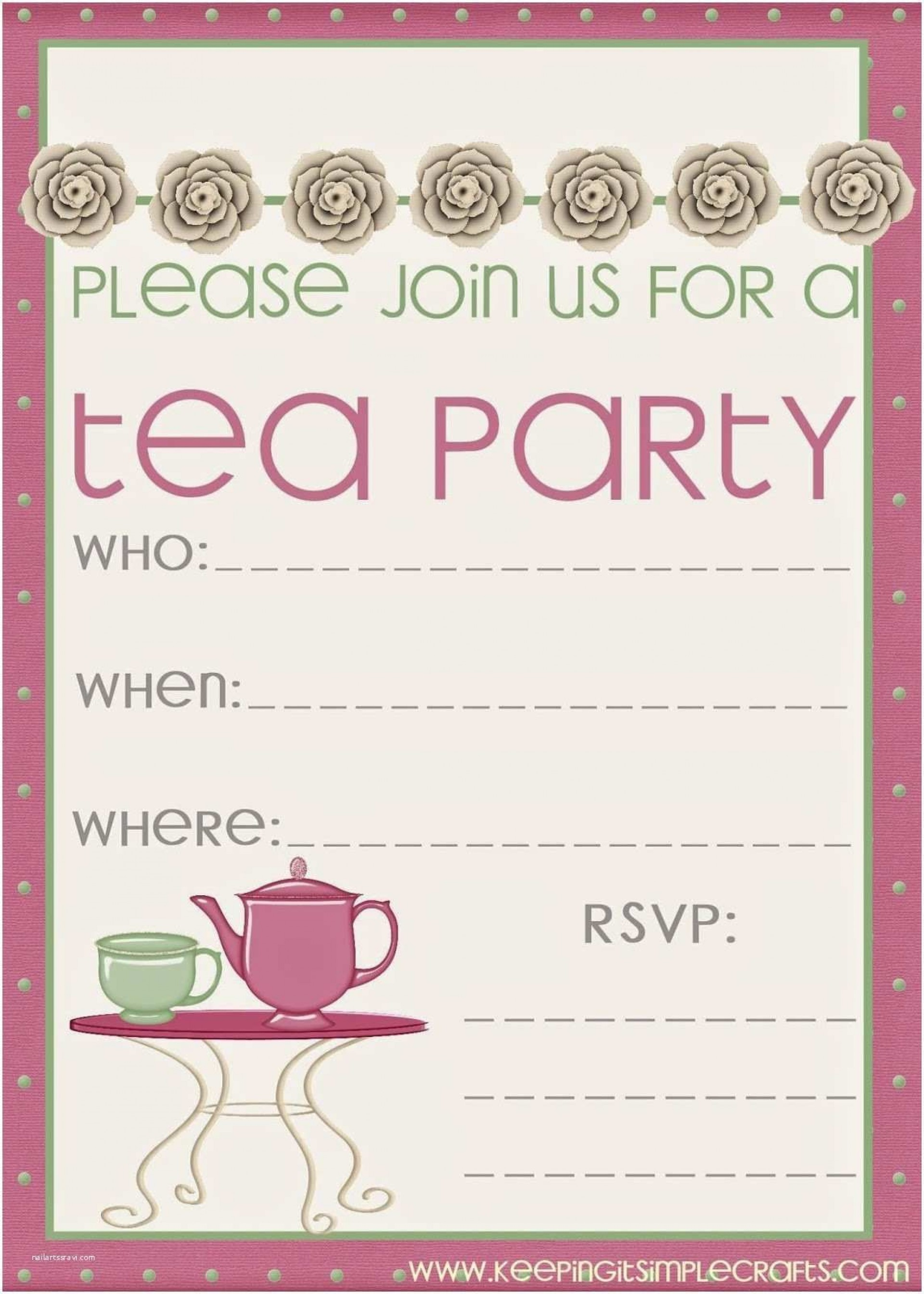 008 Sensational Tea Party Invitation Template Free Sample  Vintage Princes Printable1920