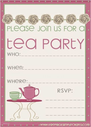 008 Sensational Tea Party Invitation Template Free Sample  Vintage Princes Printable320