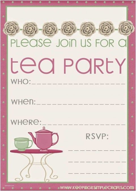 008 Sensational Tea Party Invitation Template Free Sample  Vintage Princes Printable480