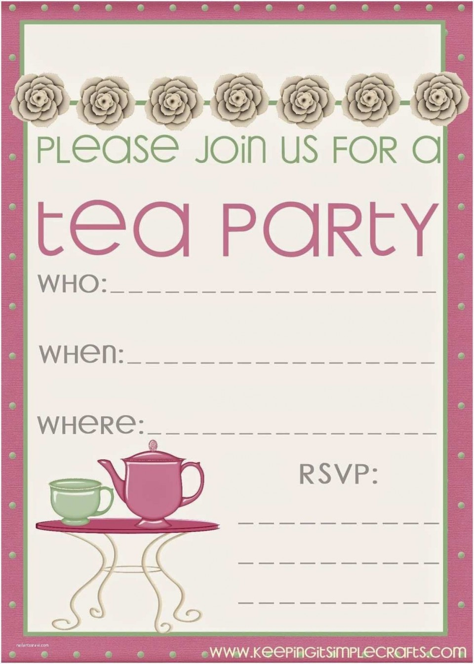008 Sensational Tea Party Invitation Template Free Sample  Vintage Princes Printable960