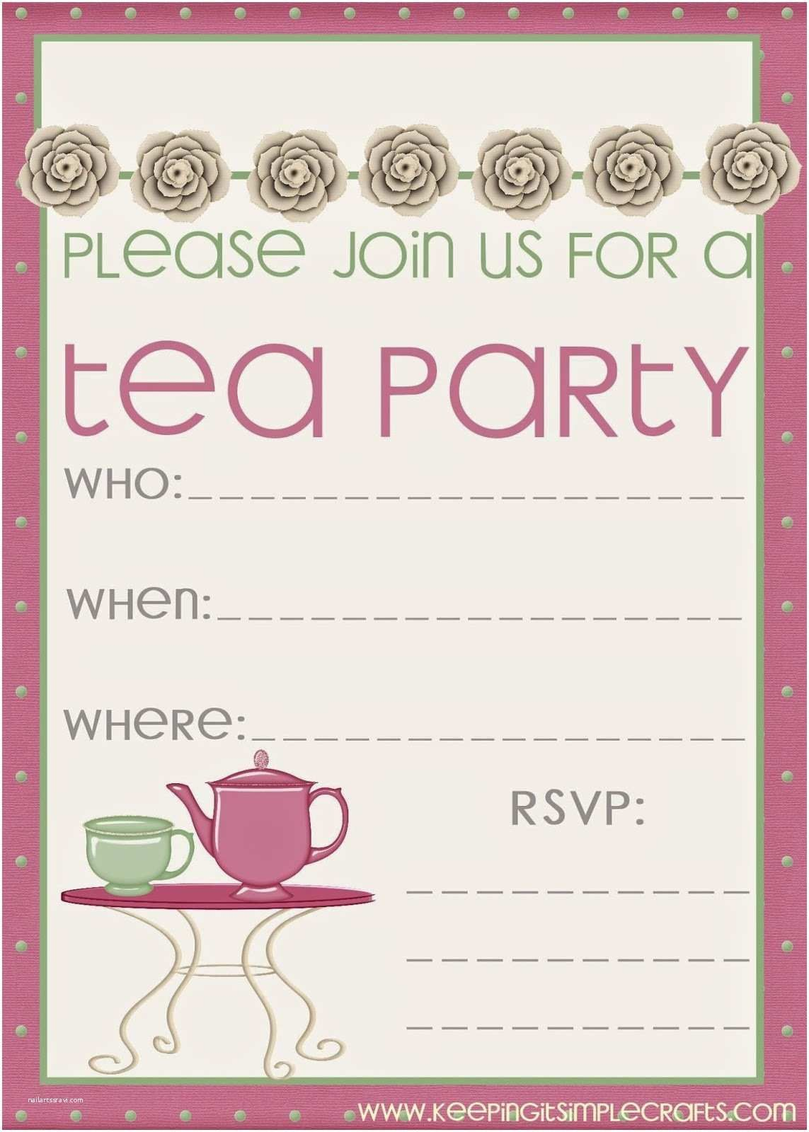 008 Sensational Tea Party Invitation Template Free Sample  Vintage Princes PrintableFull