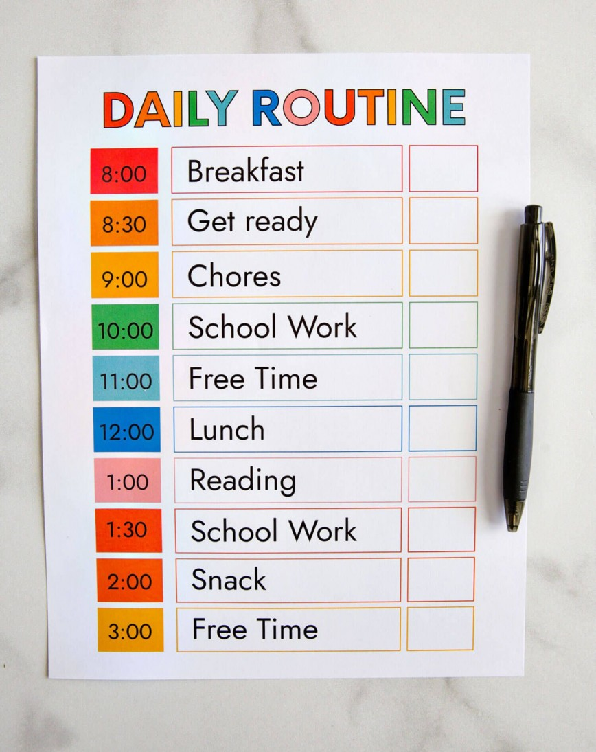 008 Shocking Daily Schedule Template Printable Image