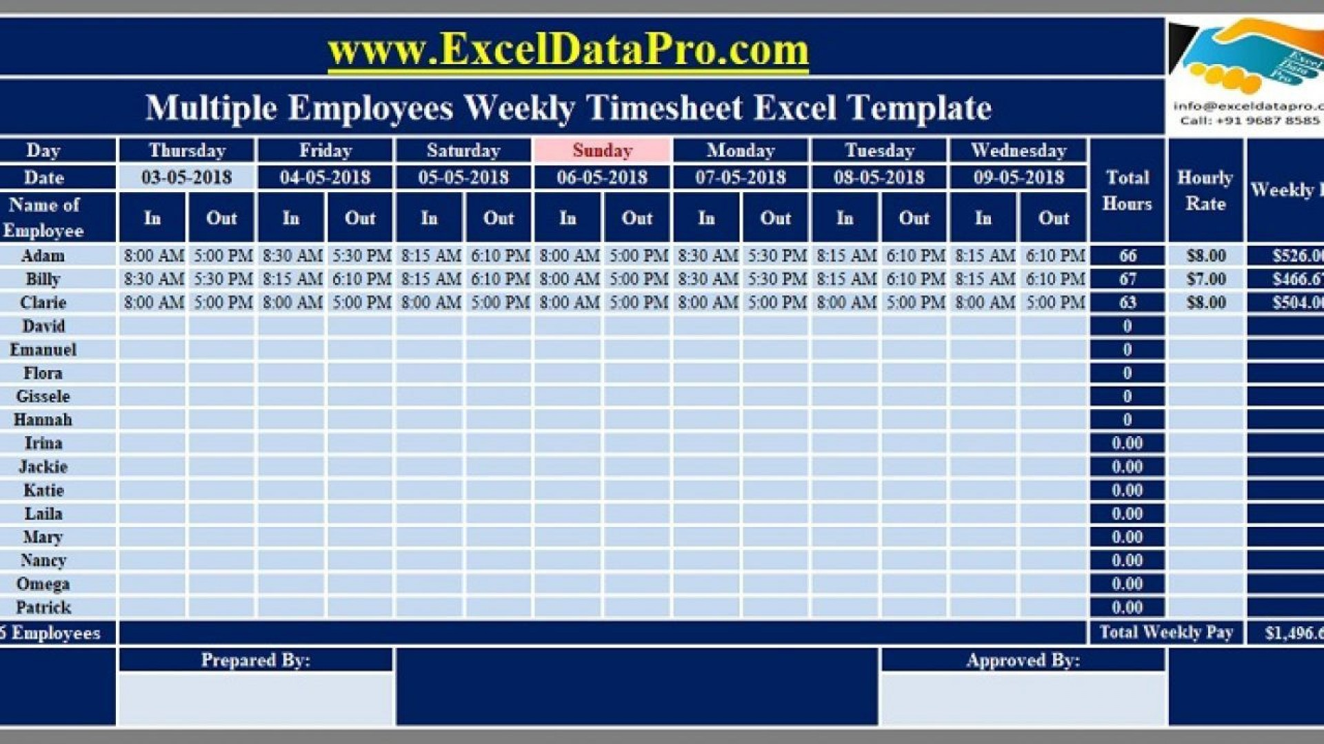 008 Shocking Excel Time Card Calculator Template Sample  Employee1920
