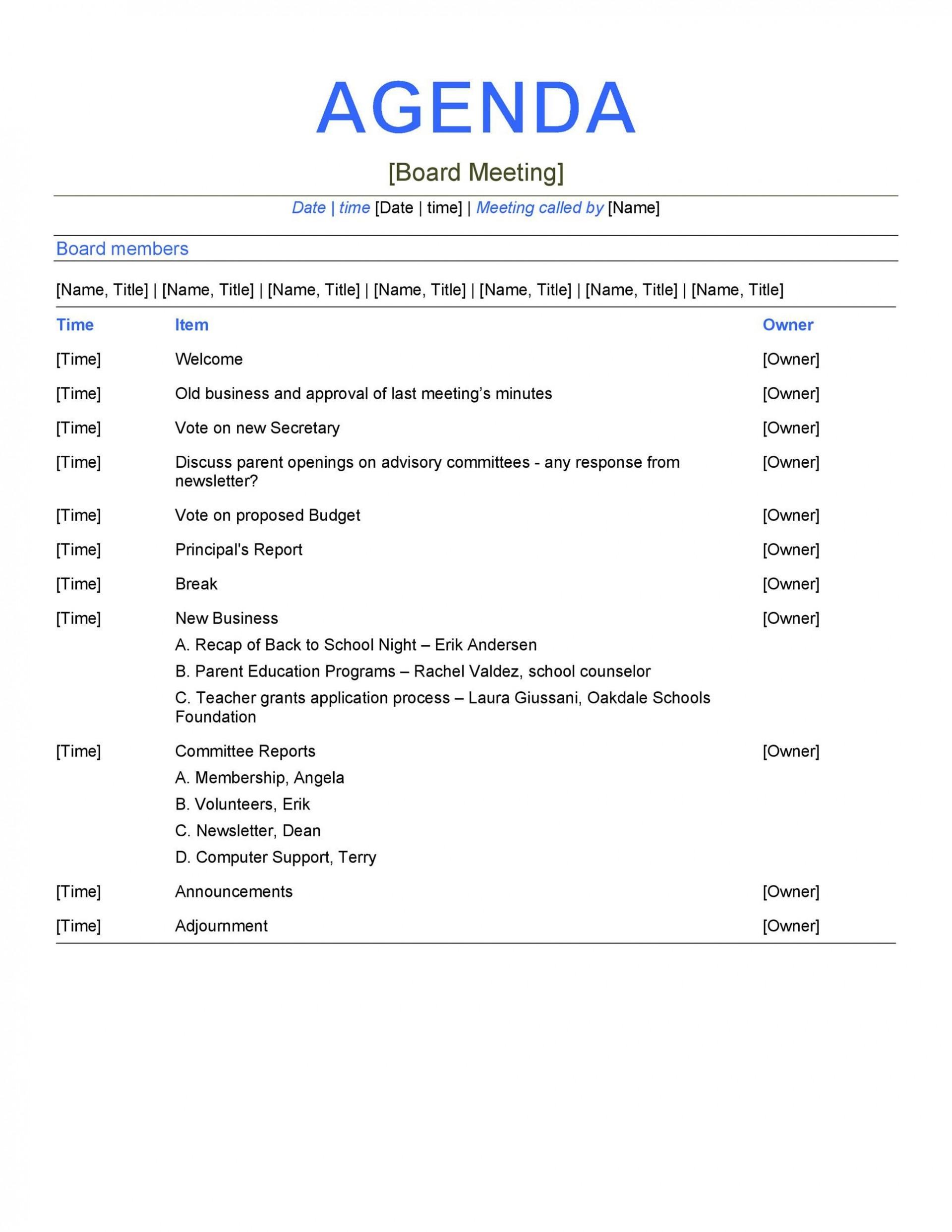 008 Shocking Formal Meeting Agenda Format Design  Example Template Ppt1920