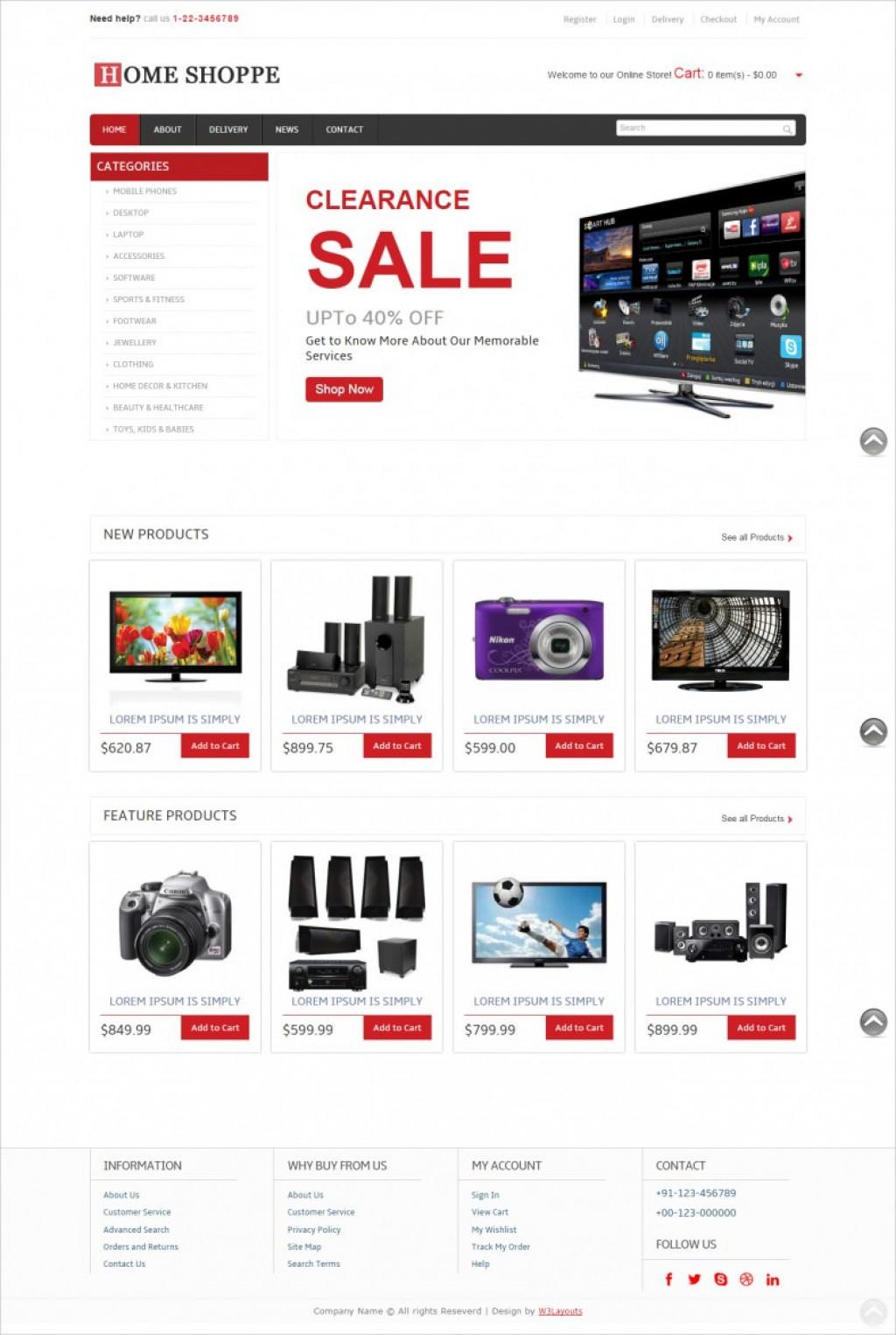 008 Shocking Free E Commerce Website Template Sample  Ecommerce Html Cs Bootstrap PhpLarge