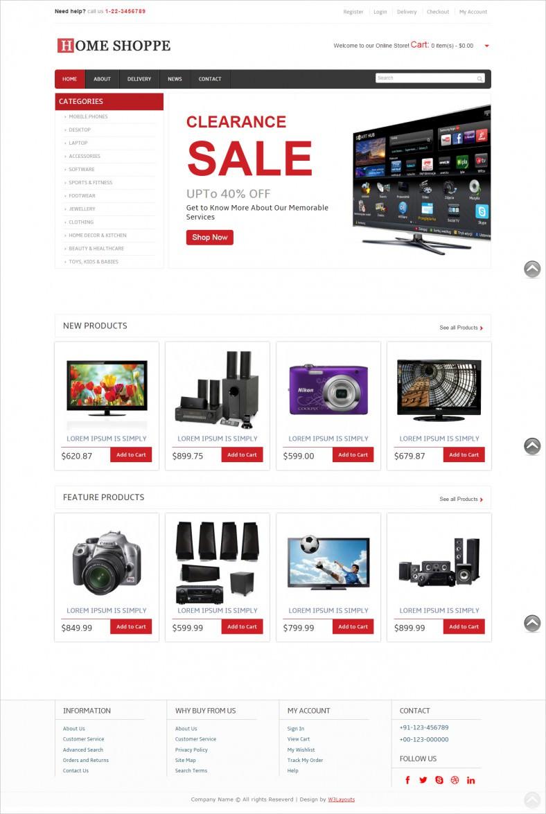 008 Shocking Free E Commerce Website Template Sample  Ecommerce Html Cs Bootstrap PhpFull