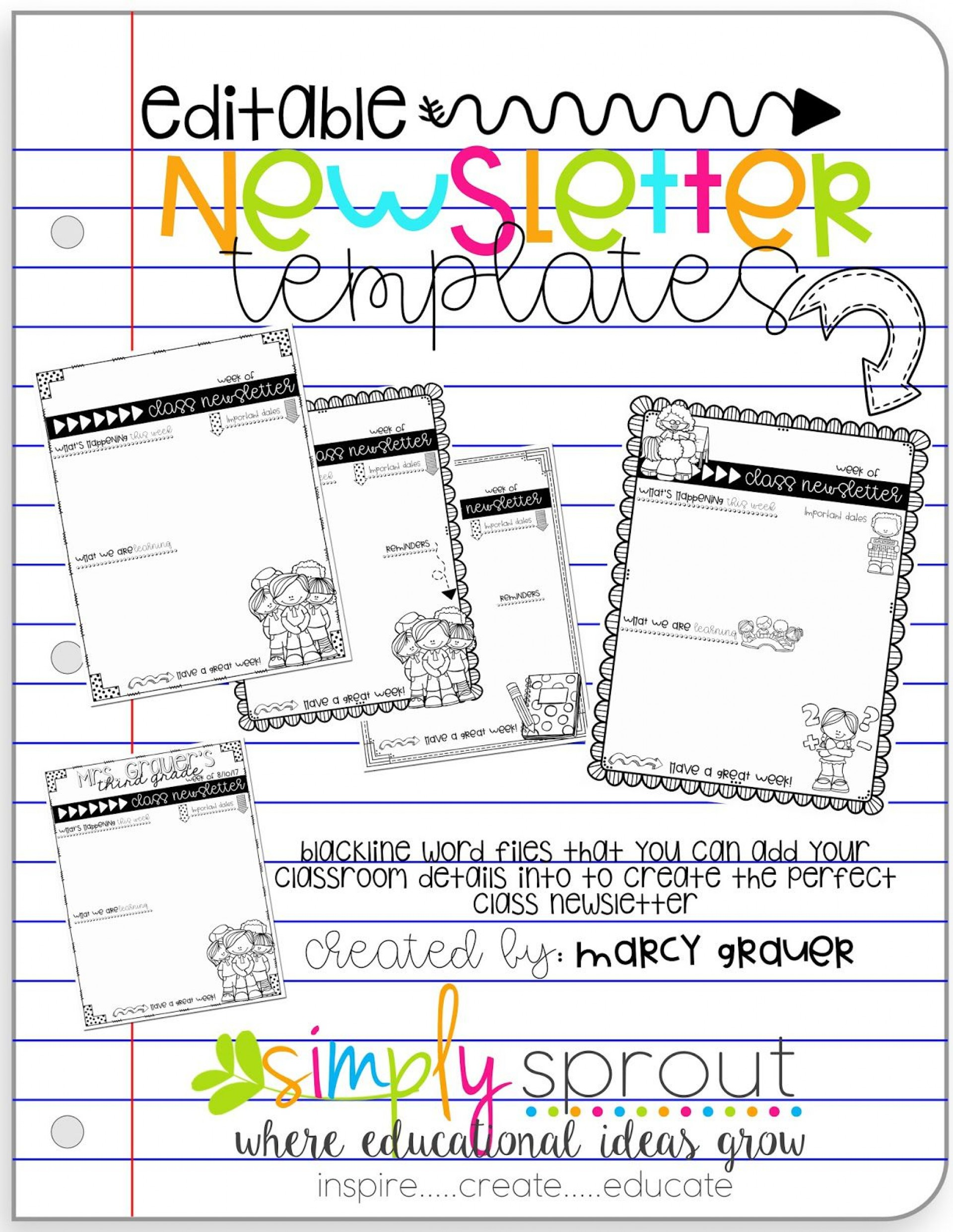 008 Shocking Newsletter Template For Teacher Design  Teachers To Parent Free Printable Digital1920