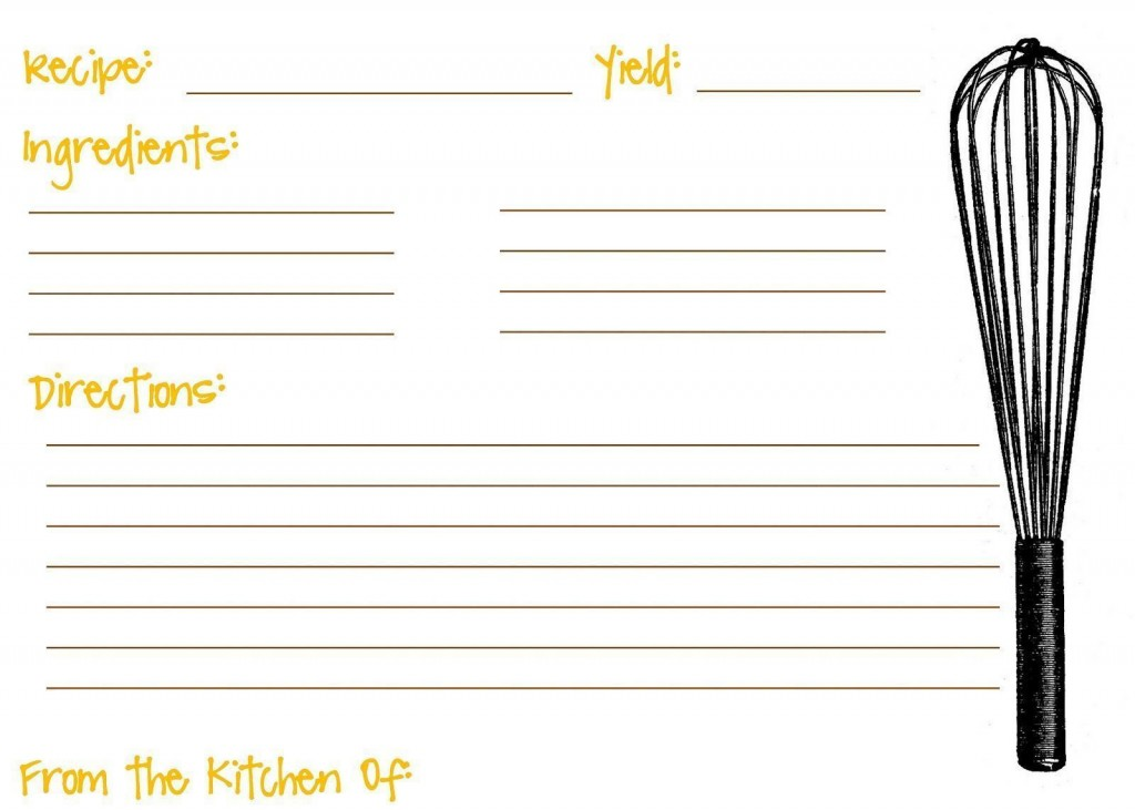 008 Shocking Recipe Card Template For Word Idea  Printable Blank FillableLarge