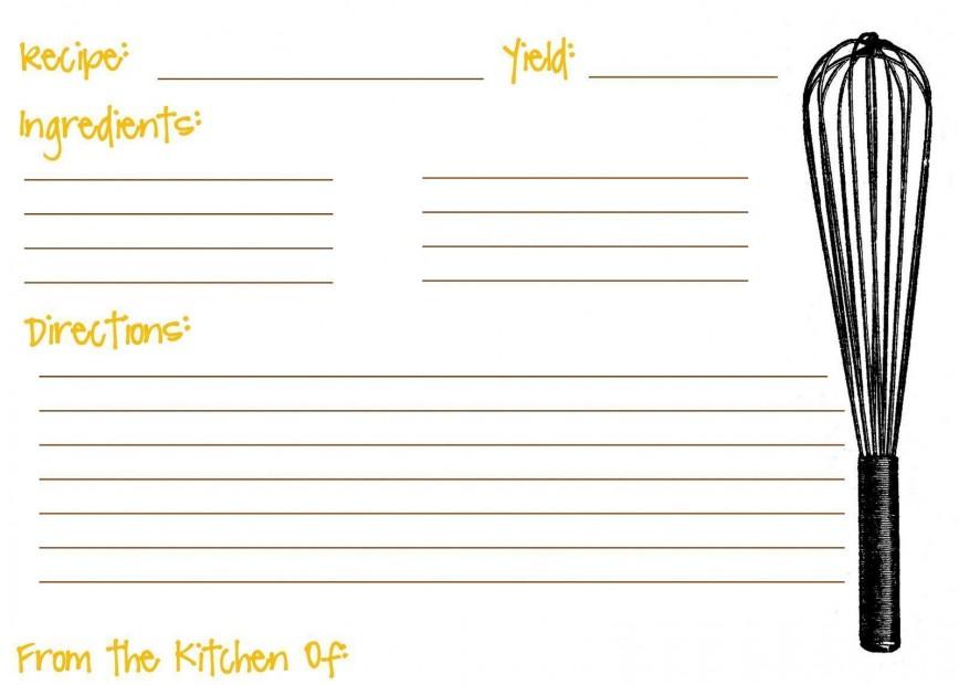 008 Shocking Recipe Card Template For Word Idea  5x7 Editable Blank