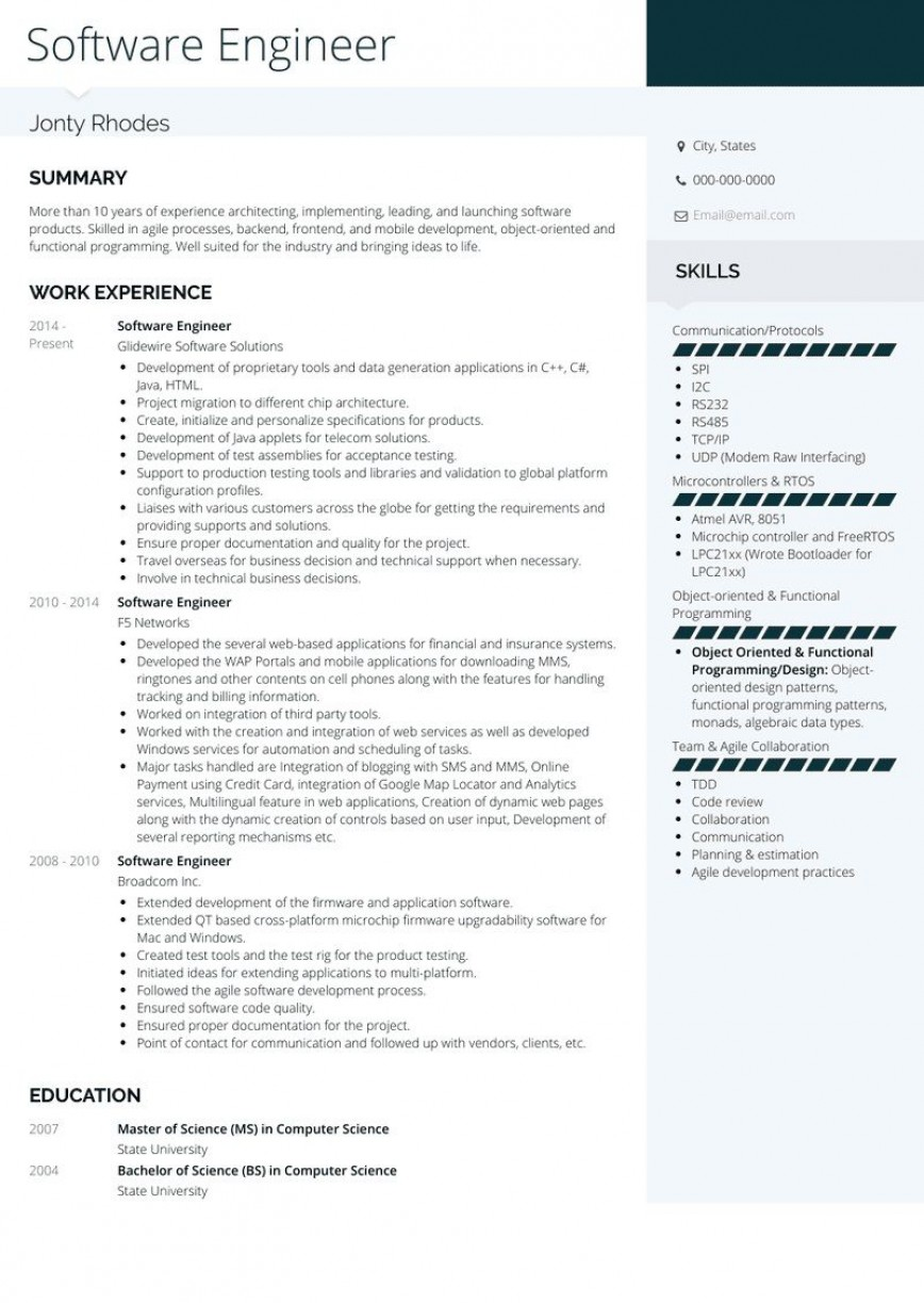 Software Engineer Resume Templates Addictionary
