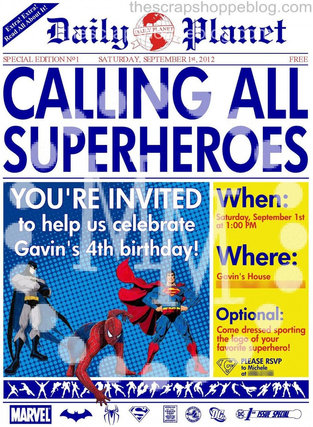 008 Shocking Superhero Newspaper Invitation Template Free Design Large