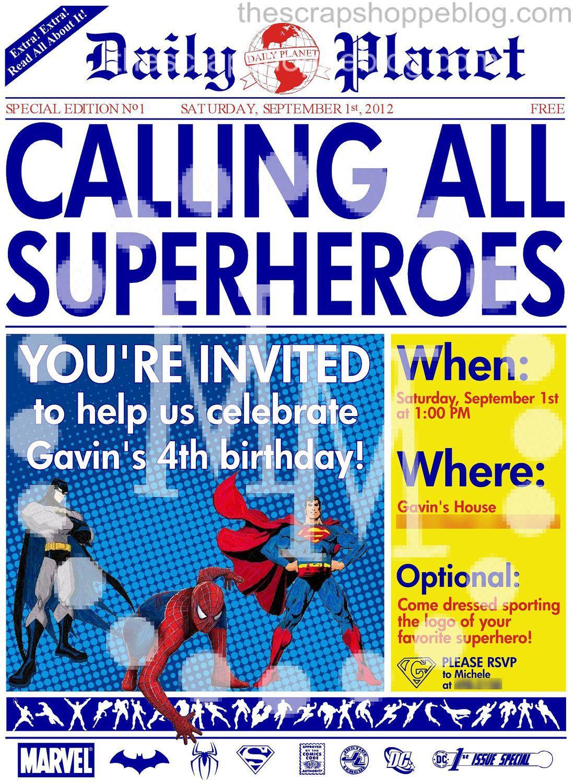 008 Shocking Superhero Newspaper Invitation Template Free Design Full