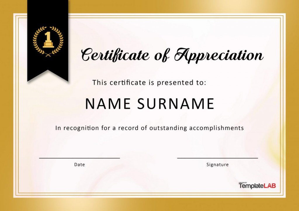 008 Simple Certificate Of Appreciation Template Free Concept  Microsoft Word Download Publisher EditableLarge
