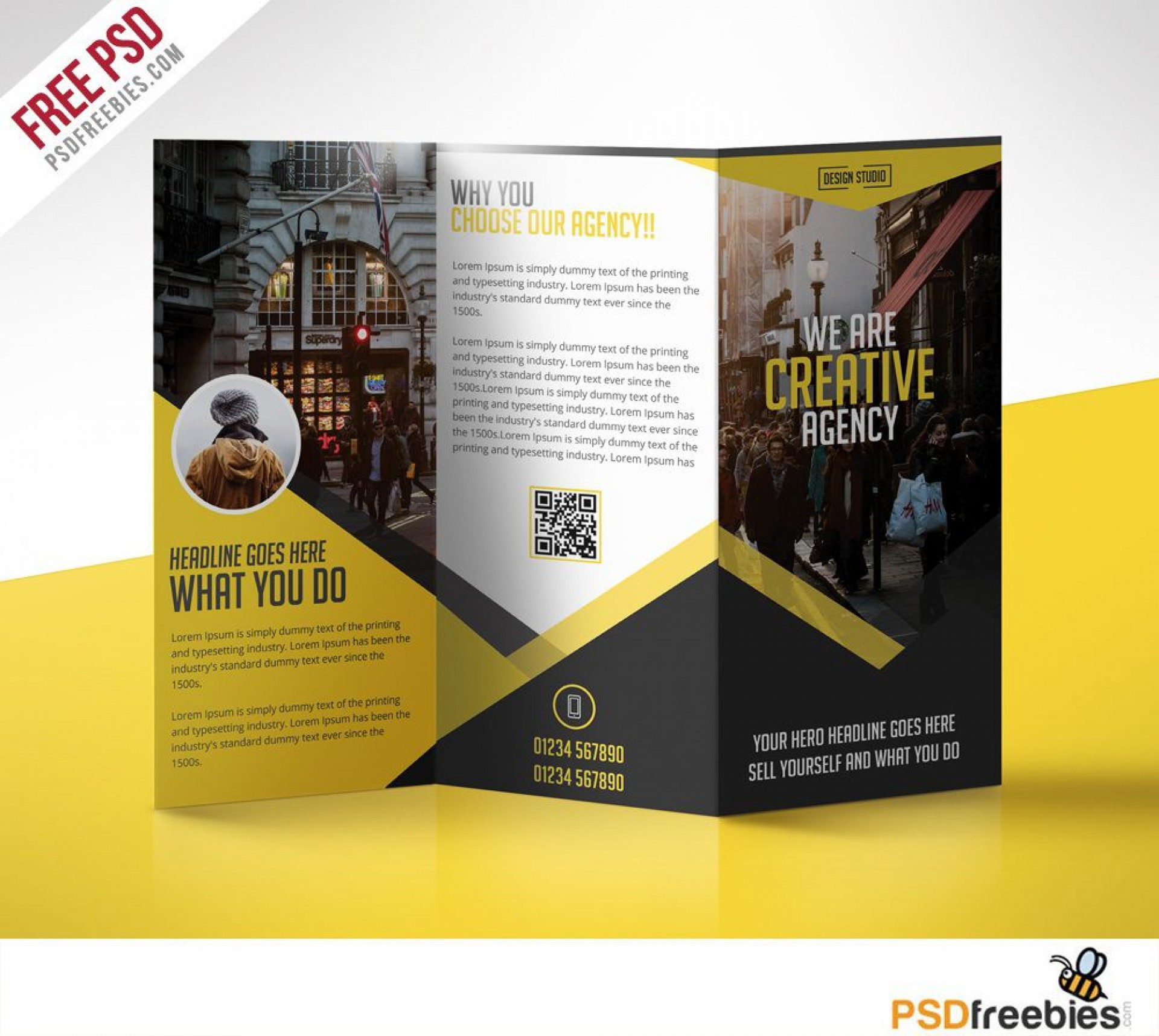008 Simple Free Brochure Template Photoshop Download Concept  Tri Fold1920