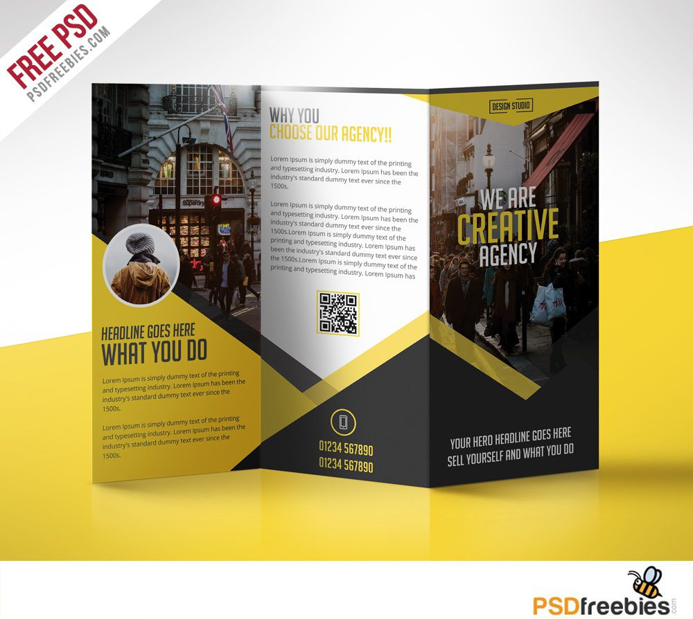 008 Simple Free Brochure Template Photoshop Download Concept  Tri FoldFull