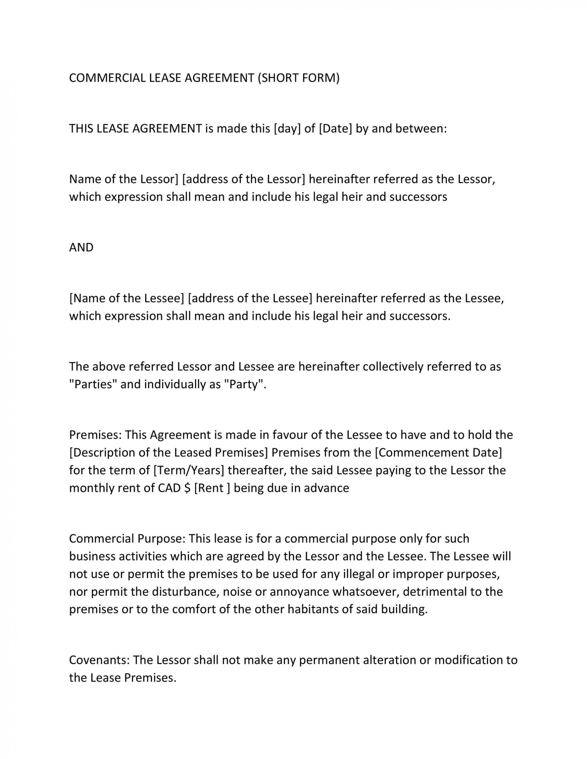 008 Simple Free Commercial Lease Agreement Template Australia Highest Quality  Queensland Download1920