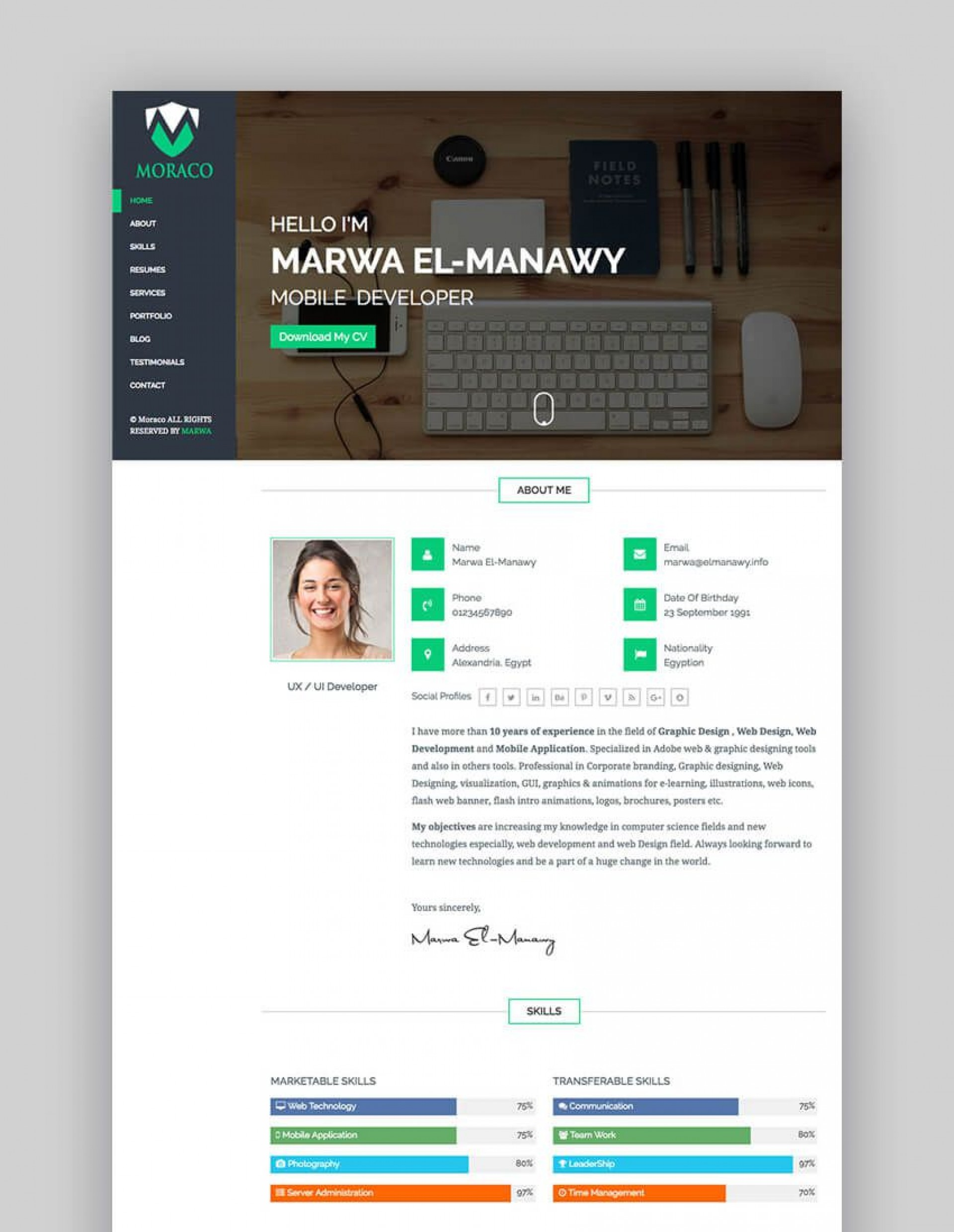 008 Simple Free Html Resume Template Highest Clarity  Html5 Best Cv Desmond / Download1920